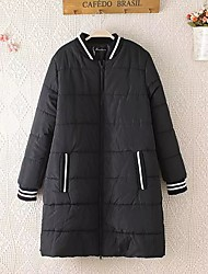 Women's Long Padded Coat,Simple Plus Size / Casual/Daily Solid-Cotton Cotton Long Sleeve Black