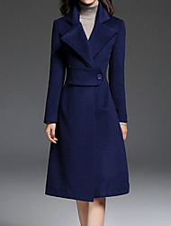 Women's Going out CoatSolid Notch Lapel Long Sleeve Fall / Winter Blue Wool / Polyester Thick