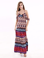 1287 Women's Going out / Party/Cocktail Sexy Swing DressPaisley Strap Maxi Sleeveless Multi-color Cotton