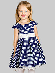 Girl's Going out / Casual/Daily Check Dress,Cotton / Polyester All Seasons Purple