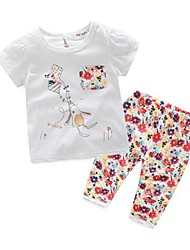 Girl's Casual/Daily Print Clothing SetCotton Summer White