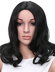 Short Wavy Style Black Color Synthetic Wigs for Women