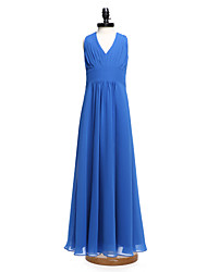 LAN TING BRIDE Floor-length Chiffon Junior Bridesmaid Dress A-line V-neck Natural with Draping