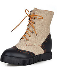 Women's Round Closed Toe High Heels Mid Top Solid Boots