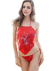 Damen Anzüge Nachtwäsche,Sexy Druck-Dünn Chiffon Polyester Rote