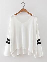 Damen Standard Pullover-Lässig/Alltäglich Einfach Solide Weiß Schwarz Grau V-Ausschnitt Langarm Kaschmir Polyester Herbst Mittel