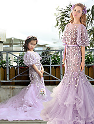 Formal Evening Dress - Mini Me Trumpet / Mermaid Jewel Chapel Train Tulle Charmeuse with Beading Flower(s) Sash / Ribbon