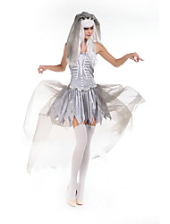 Fantasias de Cosplay Mago/Bruxa / Esqueleto/Caveira / Vampiros Cosplay de Filmes Cinzento Cor Única Vestido / Decoração de CabeloDia Das