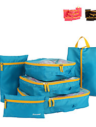 6 sets Travel Bag Luggage Organizer / Packing Organizer Packing Cubes Travel Storage for Travel Storage Net Fabric-Coffee Blue Blushing