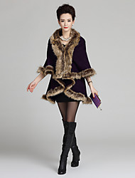 Feminino Casaco de Pelo Happy-Hour / Casual Simples / Moda de Rua Inverno,Sólido Vermelho / Branco / Preto Pêlo Sintético Lapela Xale-