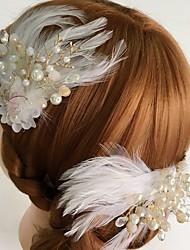 Mulheres Penas / Strass / Liga / Acrilíco Capacete-Casamento / Ocasião Especial / Casual Flores / Clip para o Cabelo 2 Peças