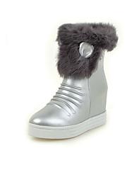 Women's Boots Winter Snow Boots PU Dress / Casual Flat Heel Zipper Black / White / Silver Others