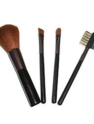 4 Makeup Brushes Set Nylon Portable Wood Face NFSS