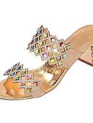 Women's Heels Summer Others / Slingback PU / Glitter Casual Chunky Heel Sparkling Glitter Silver / Gold Walking