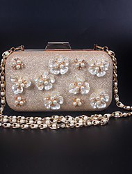 Women leatherette Formal / Event/Party / Wedding Evening Bag Casual Shoulder/Crossbody/Diamonds Pearl Flowers Bag