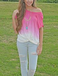 Tee-shirt Femme,Couleur Pleine Sortie / Décontracté / Quotidien Sexy / Mignon ½ Manches Col Arrondi Rose Polyester