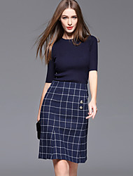 Women's Casual/Daily Simple Spring / Fall T-shirt Skirt Suits,Plaid Round Neck ½ Length Sleeve Blue Cotton / Polyester Medium