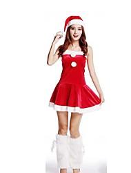 Christmas Costume /Holiday Halloween Costumes Red Solid Skirt / Garter / Hats Christmas Female Pleuche