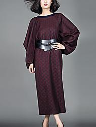 Feminino Túnicas Vestido,Formal Simples Estampado Decote Redondo Médio Manga Longa Vermelho Lã / Outros Outono Cintura Média