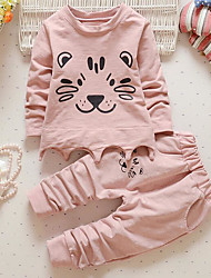Girl's Casual/Daily Animal Print Hoodie & Sweatshirt / Clothing SetCotton Spring / Fall Pink / Gray