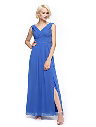 Ankle-length Chiffon Elegant Bridesmaid Dress - A-line V-neck with Criss Cross / Ruching