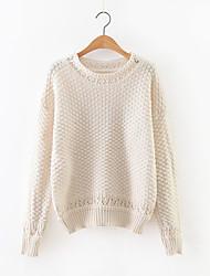 Damen Standard Pullover-Lässig/Alltäglich Einfach Solide Rot / Beige / Schwarz / Grün Rundhalsausschnitt Langarm Kaschmir / Polyester