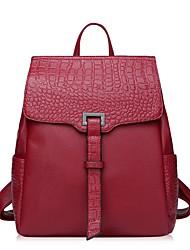 Casual Backpack Women Cowhide Purple Red Black