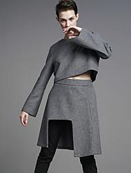 Damen Extraklein Röcke,A-Linie einfarbig Geschlitzt,Ausgehen / Lässig/Alltäglich Einfach Hohe Hüfthöhe Asymmetrisch Reisverschluss