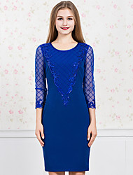 GATHER BEAUTYWomen's Going out Simple Sheath DressPatchwork Round Neck Above Knee  Sleeve Blue / Black Polyester Fall High Rise Micro-elastic Medium