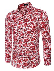 Men's Casual/Daily Simple Spring / Fall ShirtFloral Shirt Collar Long Sleeve Blue / Red Cotton Medium/hot sale