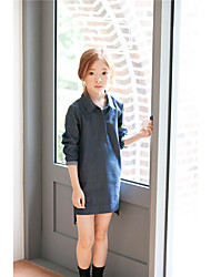 Girl's Casual/Daily Solid DressCotton Fall Black / Blue