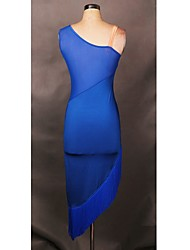 Latin Dance Dresses Women's Performance / Training Spandex  1 Pieces Halloween Blue