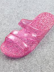 Feminino-Chinelos e flip-flops-Chanel-Rasteiro-Rosa / Champagne-Borracha-Casual