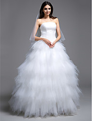 Ball Gown Strapless Sweep / Brush Train Tulle Wedding Dress with Ruche Tiered by LAN TING BRIDE®