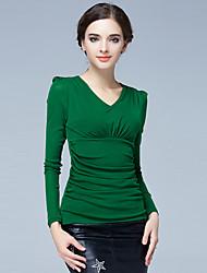 Damen Solide Einfach / Street Schick Lässig/Alltäglich / Übergröße / Ausgehen T-shirt,V-Ausschnitt Alle Saisons Langarm Schwarz / Grün