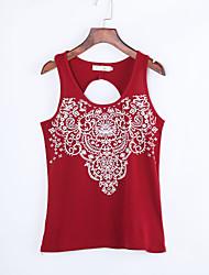 Tee-shirt Aux femmes,Imprimé Décontracté / Quotidien simple Eté Sans Manches Col Arrondi Rouge Coton Fin
