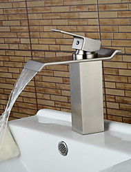 Contemporary Nickel Brushed Waterfall Bathroom Sink Faucets