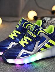 Jongens Sneakers Lente Zomer Herfst Winter Noviteit Light Up Schoenen PU Casual Platte hak Haak & Lus Zwart Blauw Wit