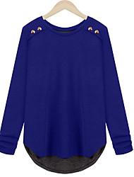 Damen Solide Einfach Lässig/Alltäglich / Übergröße T-shirt,Rundhalsausschnitt Alle Saisons Langarm Blau / Rot Polyester Mittel