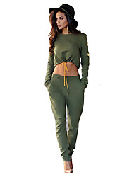 Women's Sports Active Fall / Winter Set Pant,Solid Round Neck Long Sleeve Green Polyester Opaque