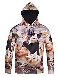 Men's Print Casual / Sport Pocket Cat Print Long Sleeve Men 3d Hoodie