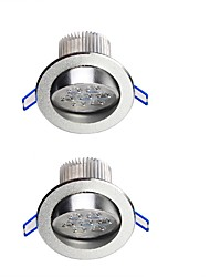 YouOKLight  2PCS 7W  600lm 7-LEDs Warm White/White  LED Ceiling Lamp - Silver (AC 100-240V)