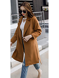 Women's Casual/Daily Simple CoatSolid Long Sleeve Fall