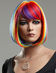 Colorful Rainbow Bobo Synthetic Hair wig