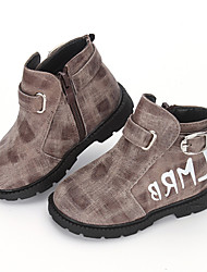 Boy's Boots Fall Winter Platform Leather Outdoor Casual Athletic Low Heel Platform Buckle Plaid Red Gray Camel Cycling Walking