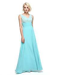 Floor-length Chiffon Elegant Bridesmaid Dress - A-line V-neck with Sash / Ribbon / Ruching