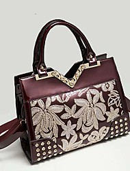 Women Fashion Patent Leather Doctor Dual Handle Shoulder Bag Sequin embroidery Office Tote Messenger Bag Ms. bags