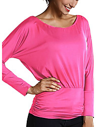 Damen Solide / Patchwork Einfach / Street Schick Lässig/Alltäglich T-shirt,Rundhalsausschnitt Frühling / Herbst Langarm Blau / Rosa / Rot