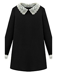 Women's Plus Size / Casual/Daily Simple Loose DressSolid Peter Pan Collar Above Knee Long Sleeve Black Polyester