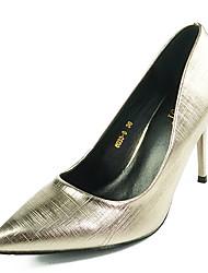 Damen-High Heels-Lässig-PU-StöckelabsatzSchwarz Silber
